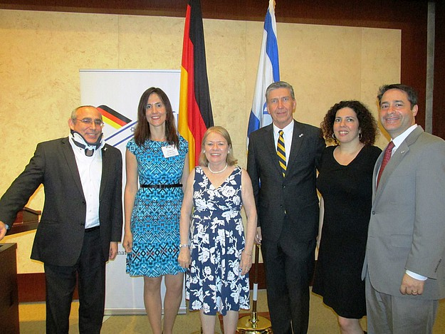 Israel's Consul General Chaim Shacham, ARSP's Katharina von Muenster, AICGS' Lily Gardner Feldman, Germany's Consul General Juergen Borsch, Israeli Panelist Hadas Cohen and AJC's Brian Siegal at the event in Miami.
